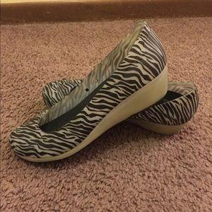 Zebra CROCS wedges.